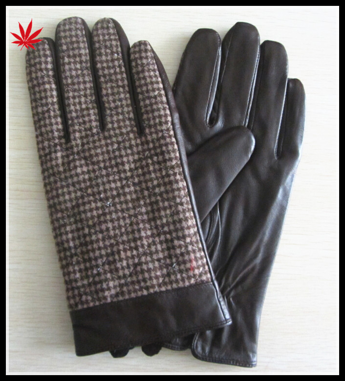 men's brown winter driving leather hand gloves