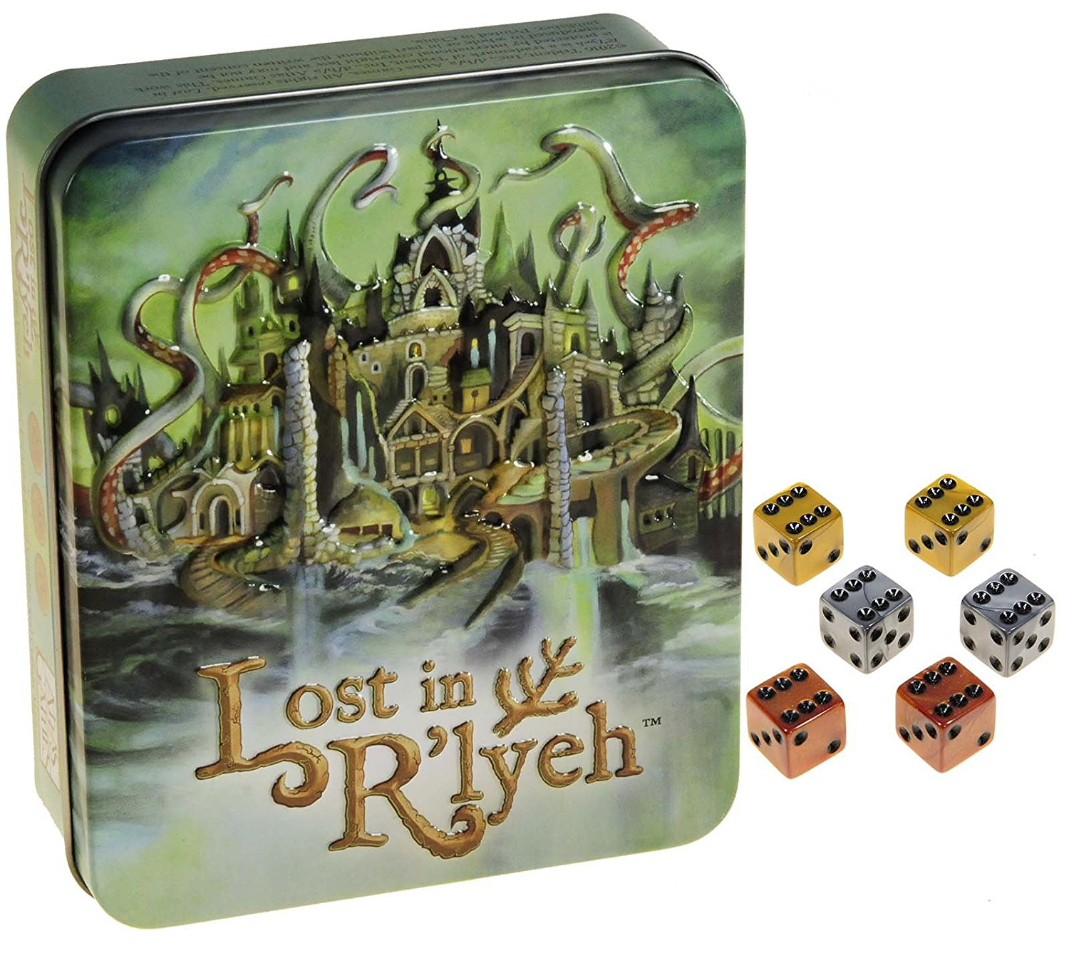 Lost in R'lyeh Card Game (Call of Cthulhu) in Tin _ Bonus Set of 2 Gold, 2 Silver, and 2 Bronze Swirl d6 Game Dice _ Bundled Items