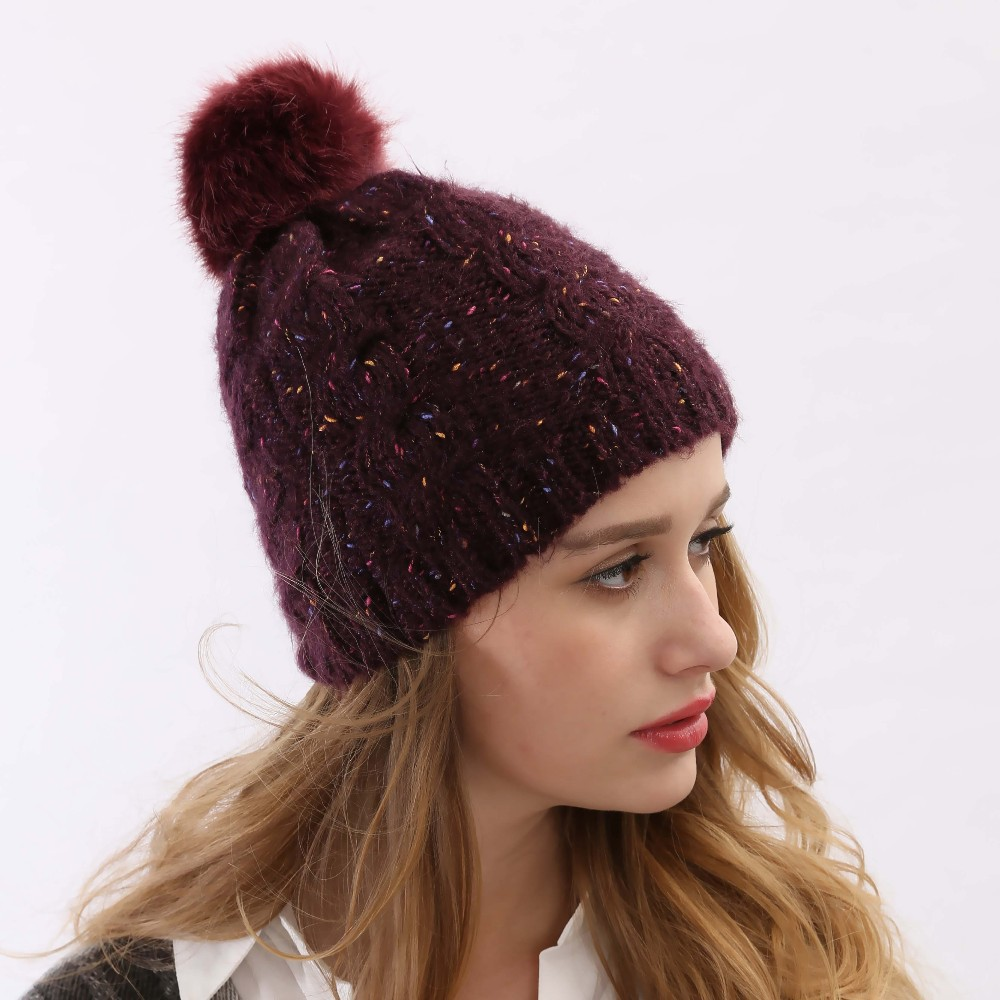 Classic Tight Knitted Fur Head Warmer Top Quality Slouchy Winter Cap Women Sport Wool Knit Hat Beanie