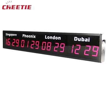 Abs Case Electronic Multiple Zones Led Digital World Time Clock In