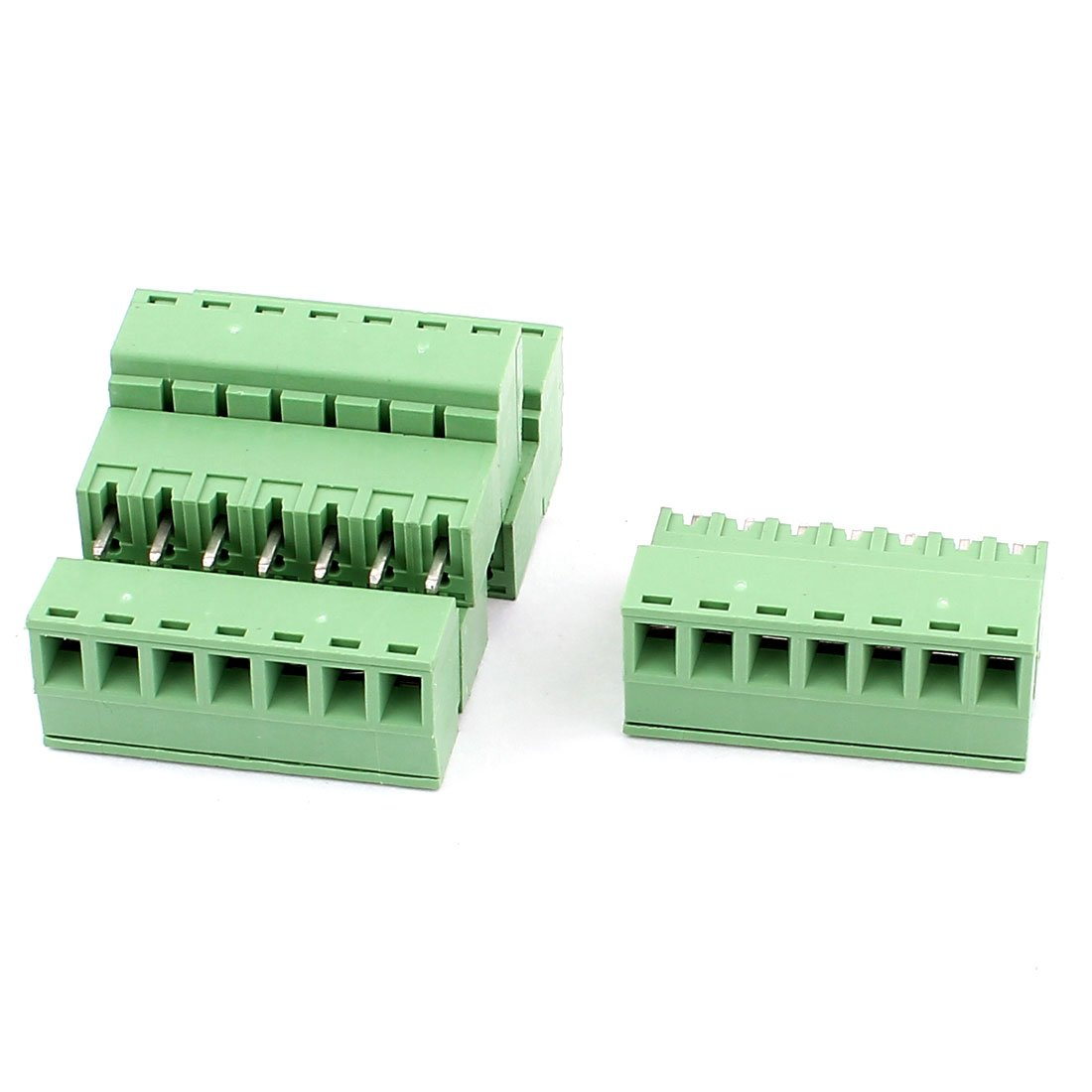 uxcell AC 300V 8A 7 Pins PCB Terminal Block Connector 3.81mm Pitch 4pcs Green