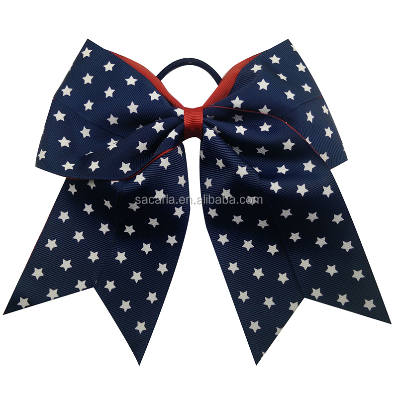 Patriotic Bow 4th of July America cheer Bow American Flag Bows
