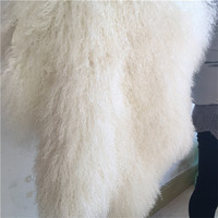 Mongolian sheepskin curly fur tibetan lamb throw