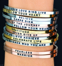 Message FOLLOW YOUR HEART Bracelet Stainless Steel Metal Bracelet Custom Inspirational Engraved Jewelry