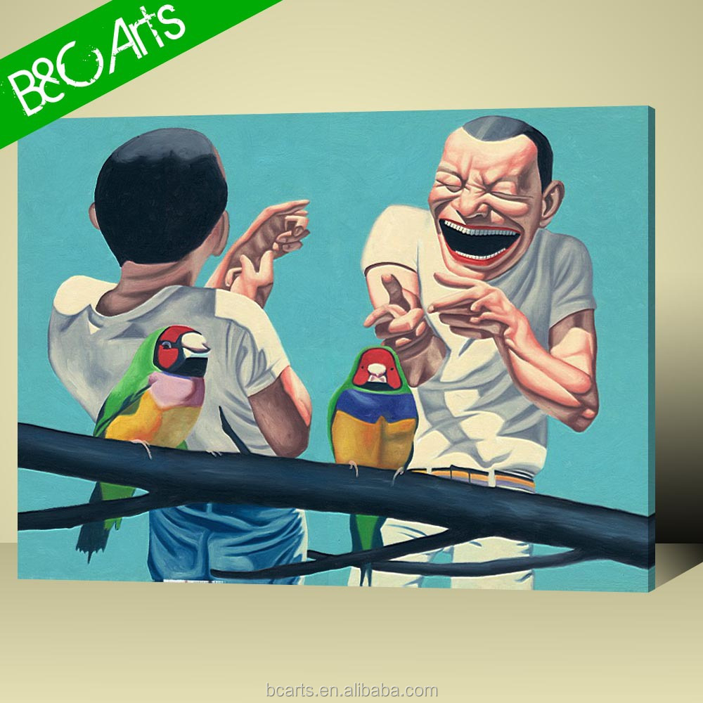 Cartoon portrait painting of two funny men and birds abstract canvas print