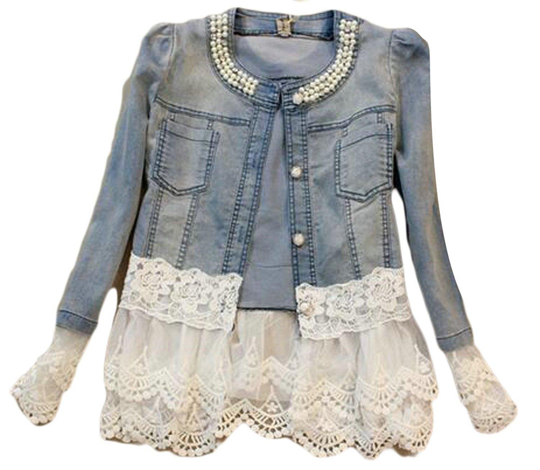 CBTLVSN Women Fashion Round Neck Long Sleeves Rhinestone Lace Trim Outwears