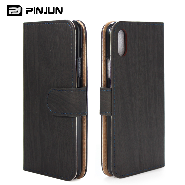 Classics wooden pu leather case cover for iphone 8 wallet case
