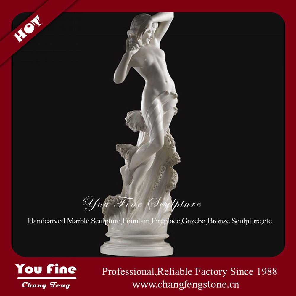 Natural Carved Marble Nude Lady Statue With Conch