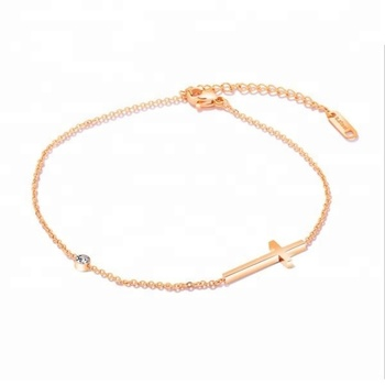 Bomei Whole Beautiful Cross Pendant Ankle Bracelet With Cubic Zirconia Rose Gold Foot Jewelry