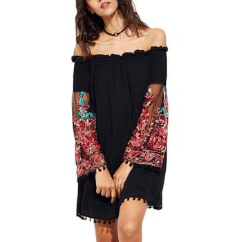 beff736797 Autumn Bohemian Dress Black Embroidered Mesh Sleeve Off-Shoulder Dress Long  Sleeve Tassel Fall Women