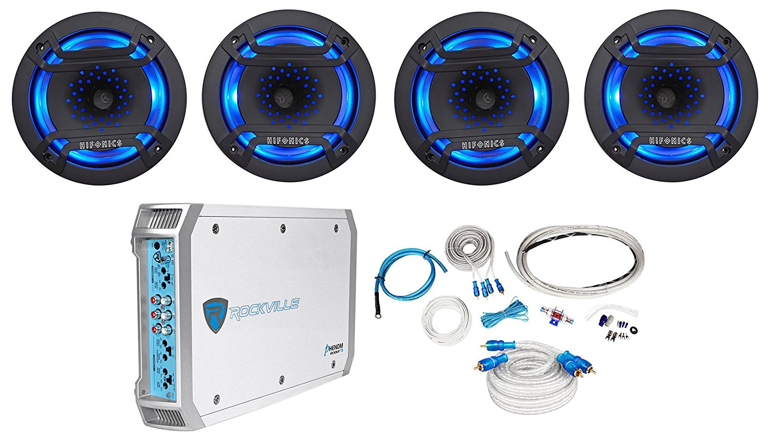"(4) Hifonics TPS-CX65 6.5"" 300w Marine Boat LED Speakers+4-Ch Amplifier+Amp Kit"
