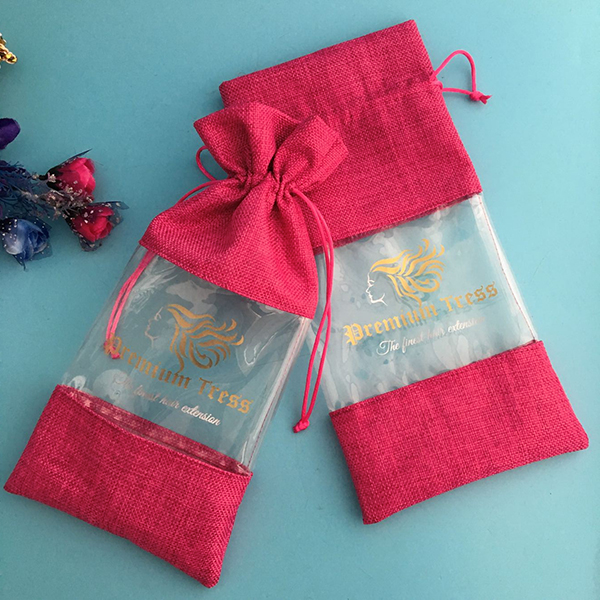 custom drawstring jute hair extension bag with pvc for packaging