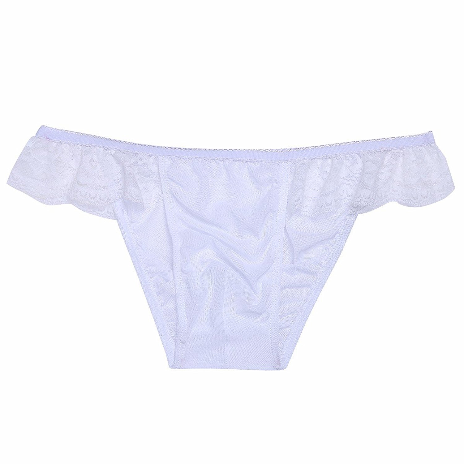 3495a4b8d30c Get Quotations · iiniim Men's Sexy Mesh Sheer Lace Sissy Underwear Thong  Pouch