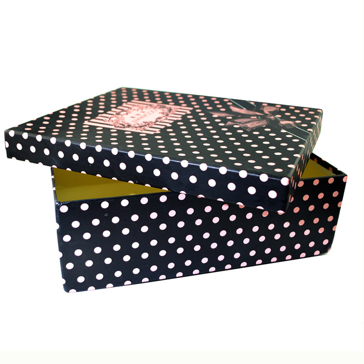Hot sale ladies classic leisure shoe lid and base shape box with printed pink dot on <strong>black</strong>