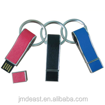 Leather usb flash memory with keyring