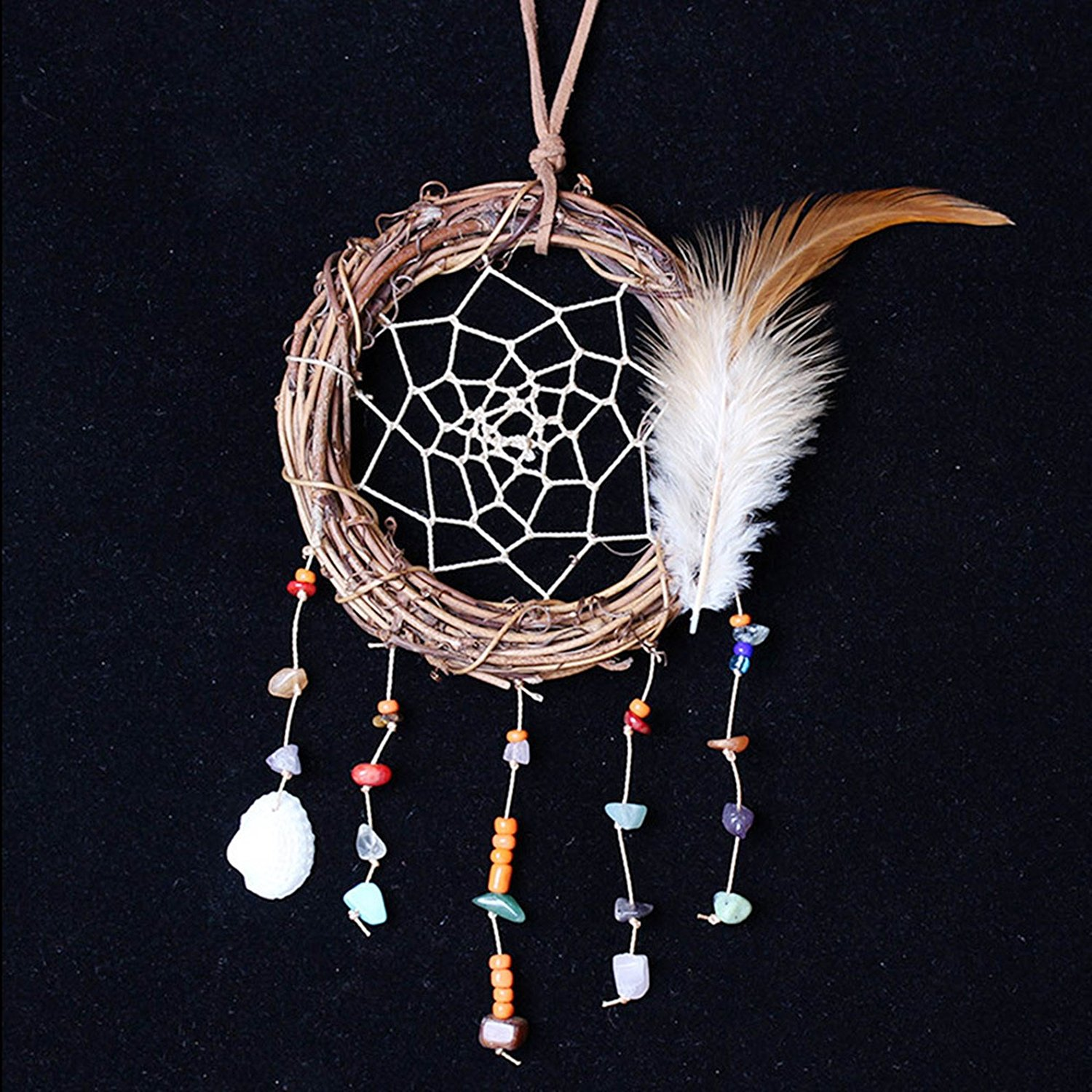 1 Pc Antique Colorful Feathers Stone Dream Catcher Ornament Gift Mini Arts Craft Rainbow Owl Hanging Nursery Bedding Room Superior Popular Dreamcatchers Girls Bedroom Yin Yang Car Wall Catchers Kit