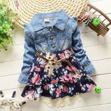 Baby Girls Dress 1016 Children Kids Clothing Denim Jeans Long Sleeve Baby Girls Princess Flora Dress 2 color 1-4 years