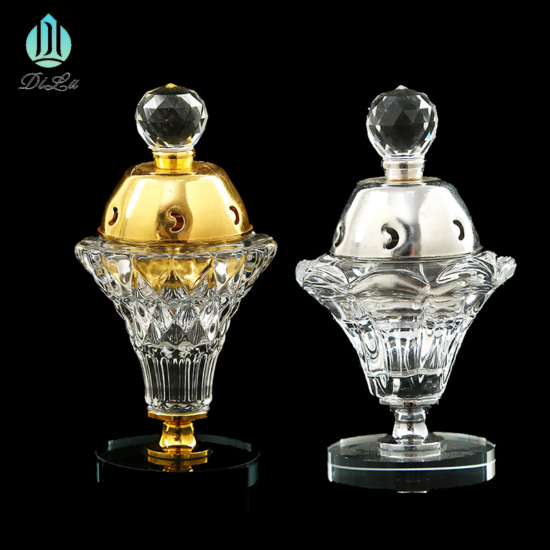 NEW Hot Sale Wholesale creative Arabic middle east portable Buddha mesh incense base copper alloy glass crystal incense burner