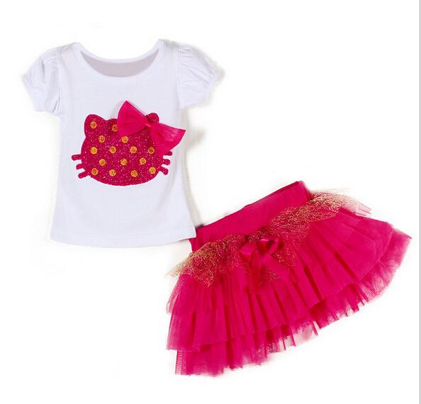 80faef030 Get Quotations · 2015 Summer hello kitty bow Short skirt set girls clothing set  Short Sleeve t-shirt