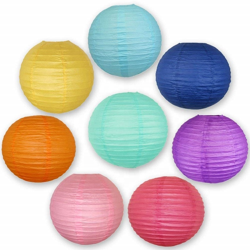 Best selling Art Crafts 8 inch Colorful Paper Lanterns For Home Decor <strong>Wedding</strong>/Festival Decoration Party Supplies