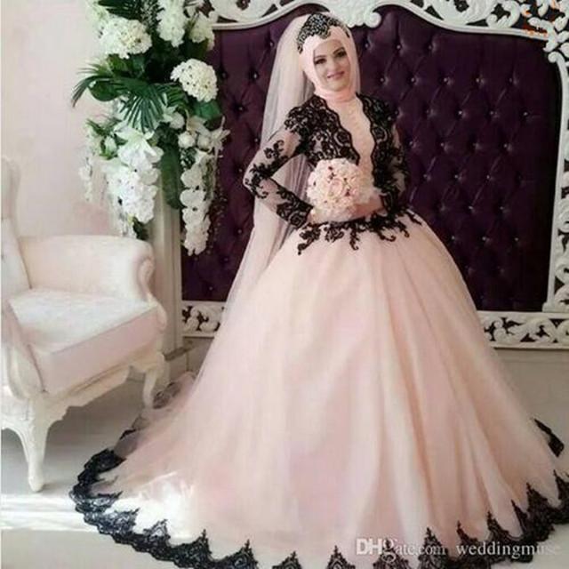 Elegant Long Sleeve Wedding Dresses Muslim Dress 2015: Elegant Black Lace Vintage Pink Muslim Wedding Dresses