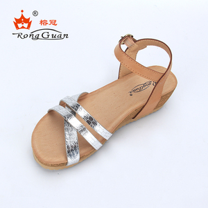 Jieyang Wholesale Summer Ladies PU Soft Platform Wedge Heel Sandals