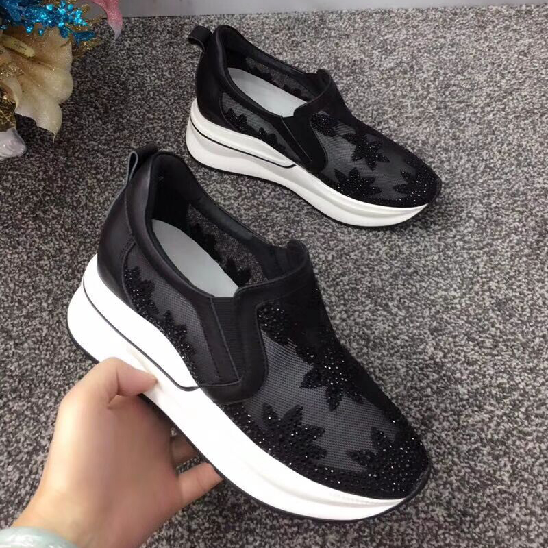 leather rhinestone lazy casual women thick bottom increase Lace shoes face mesh wq8XxOE07