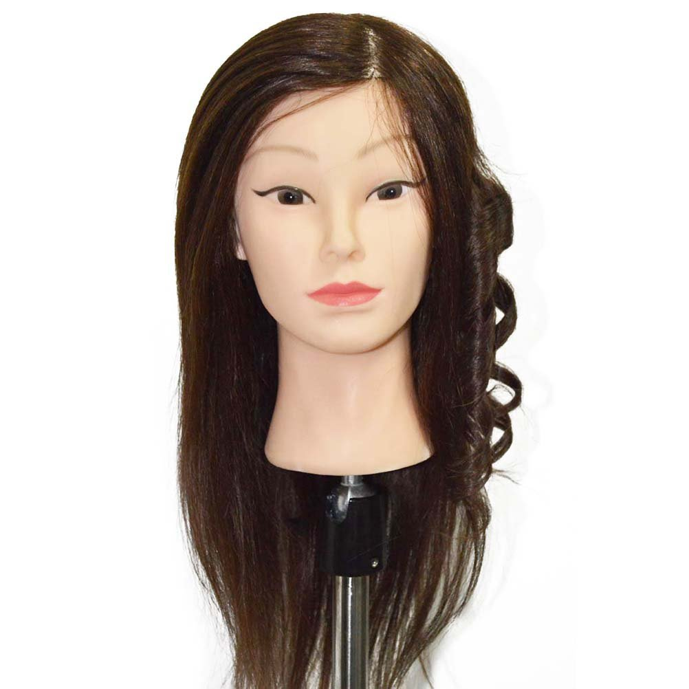 OULII 80% Real Hair Blonde Training Hairdressing Cut Head Mannequin Human Hair, 8-Inch