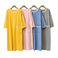 Wholesale Softy Bamboo Cotton Sexy Women Nightgown Sleep Shirt with Pocket
