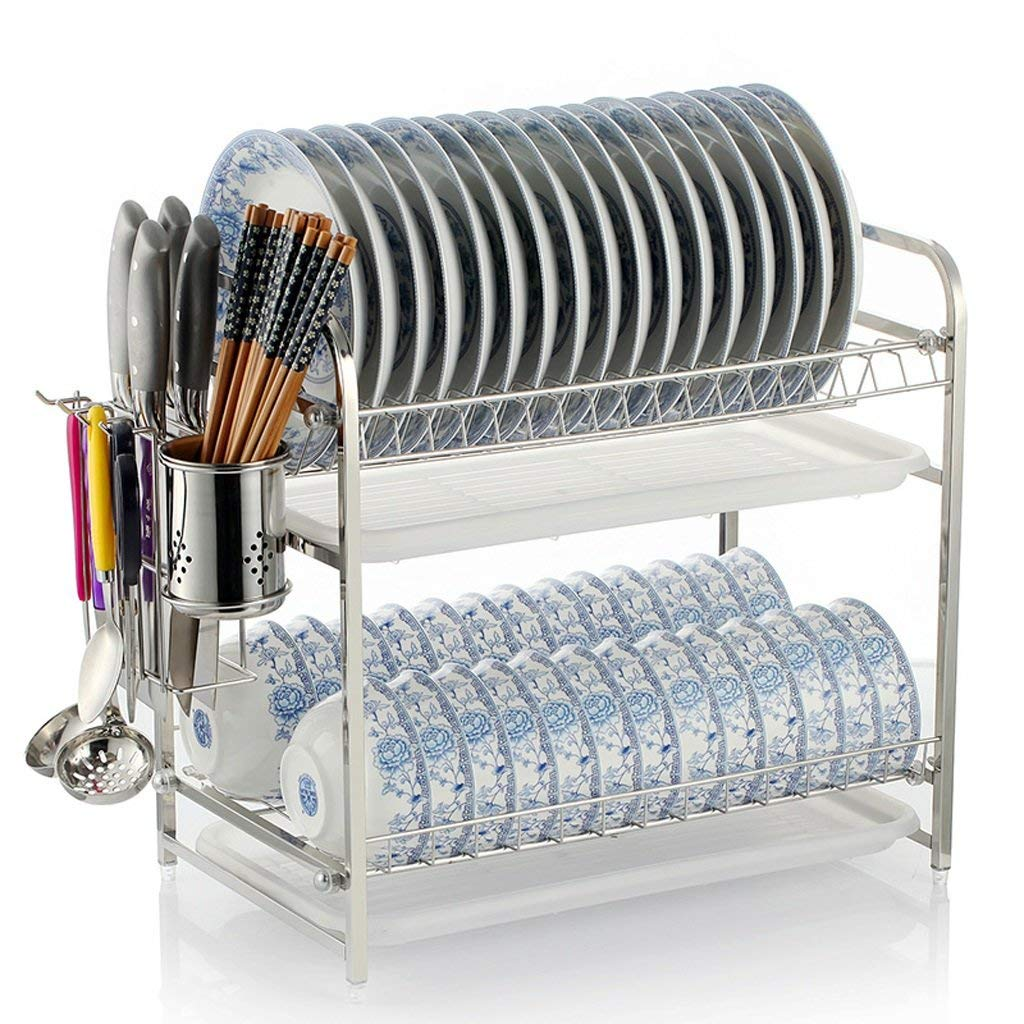 Kitchen dish rack stainless steel kitchen chopsticks bowl/dish rack kitchen plate storage rack bowl storage rack/drain rack kitchen utensils storage box rack (Color : #a)
