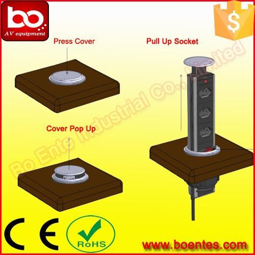 Tabletop Electric Socket With 3 Way German Power Plug Desktop Power