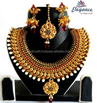 6881042be Wholesale Bridal Necklace set-One Gram Gold Plated Jewellery-South Indian  Jewellery-Gold