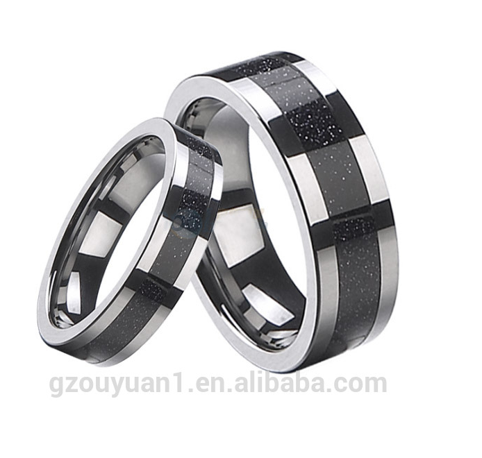 Fashion Jewelry Carbon Fiber Different Size Wedding Band 6mm 4mm Women Ring