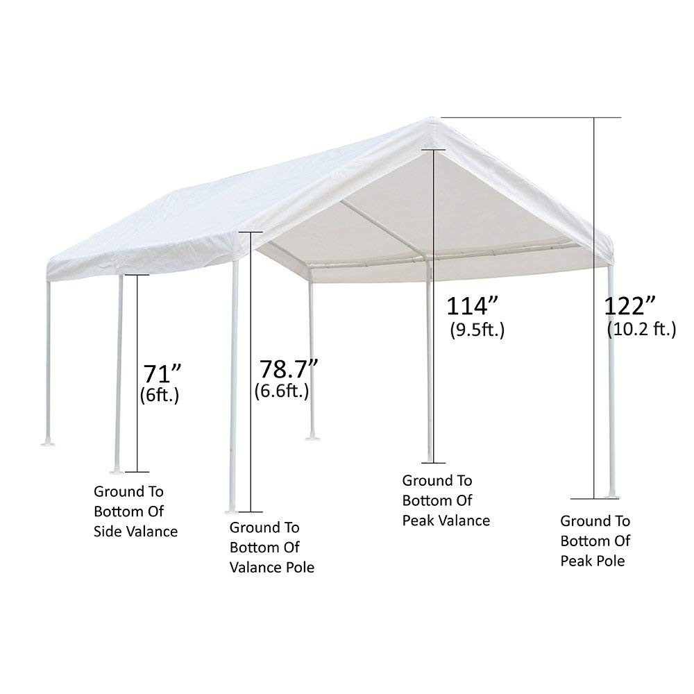 10 X 20 Ft. Portable Carport Car Canopy For Auto And Boat ...
