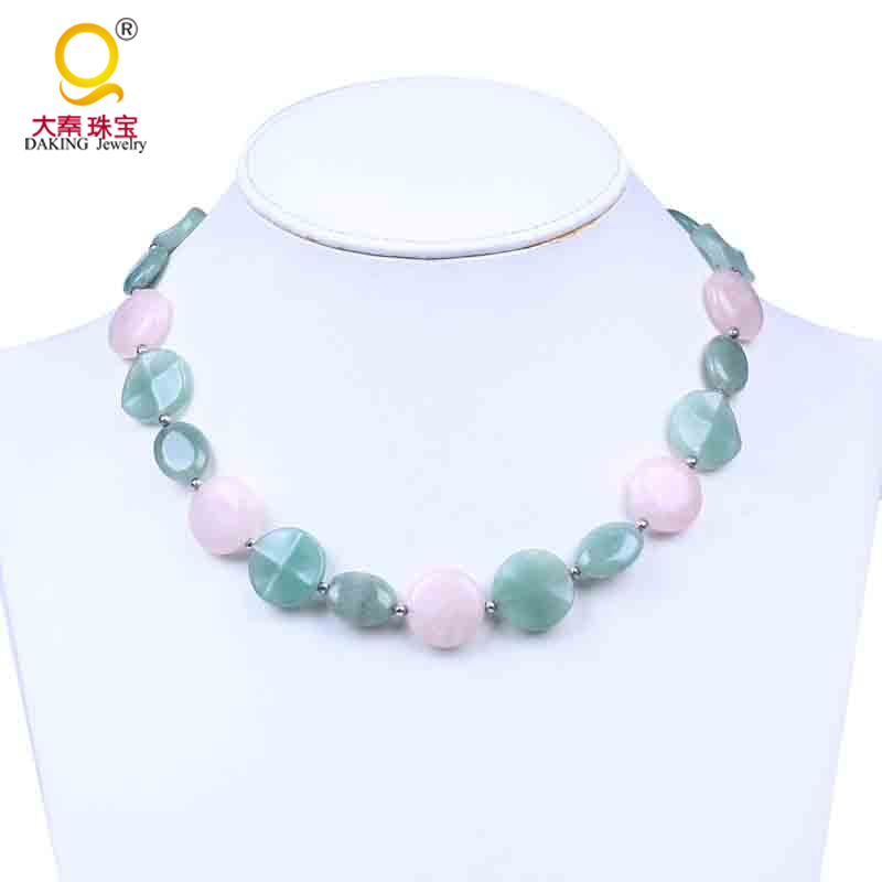 Natural Green Jade Necklace Lucky Beads Link Chain