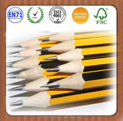Hexagonal Yellow HB pencil with eraser,oem package,number 2 pencil with eraser