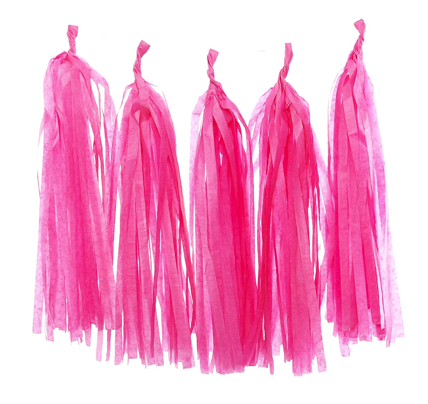 Tissue Paper Party Decorations, Hot Pink Paper Tassels (Set of 5) - Princess Party Supplies, Deep Pink Wedding Garland, Bunting Banner, Birthday Streamers
