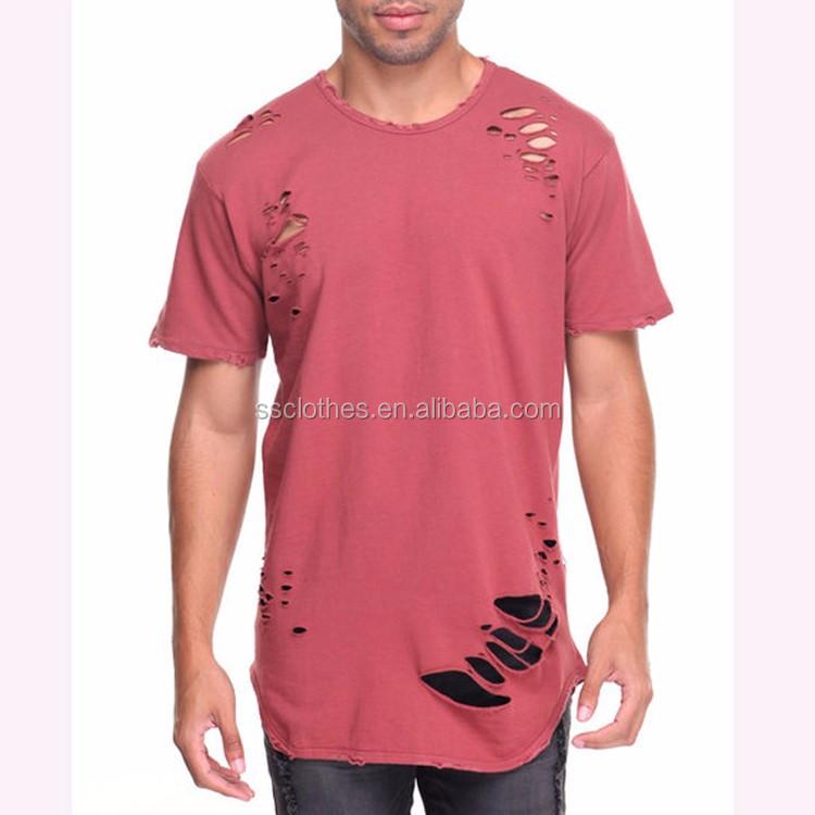 New Hot Fashion Custom Size Longline Men Ripped T Shirts Hip Hop #TX59