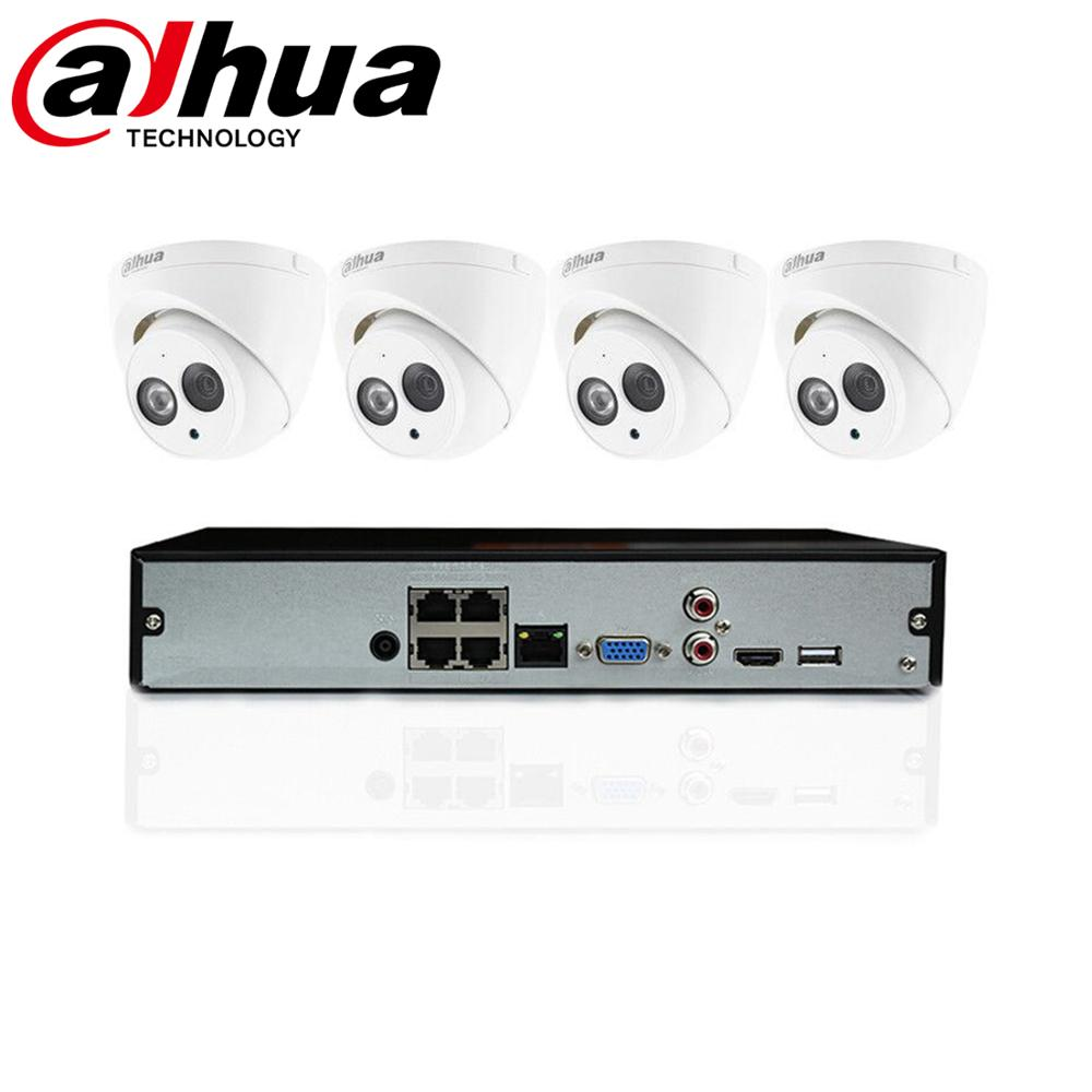 DAHUA 4CH SECURITY KIT 4MP POE 4 PCS INGEBOUWDE MICROFOON CAMERA 'S CCTV NVR NVR2104HS-P-4KS2 CCTV Systeem Camera Kit