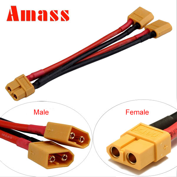 Amass XT60 Parallel Connection Cable Splitter Connector Extension Y Wire 12AWG 150mm For RC Quadcopter Lipo Battery