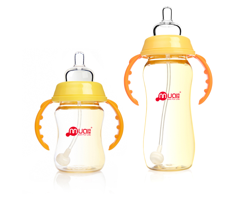 Wide Neck Anti Colic Pp Curved Bottle 300ml With Heart