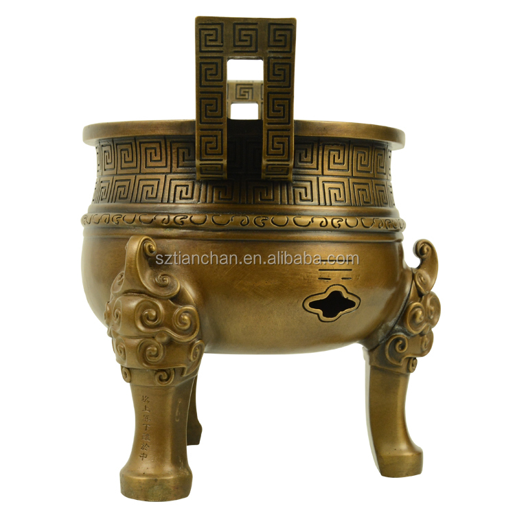 Custom metal casting brass incense burner chinese bronze Ding sculpture