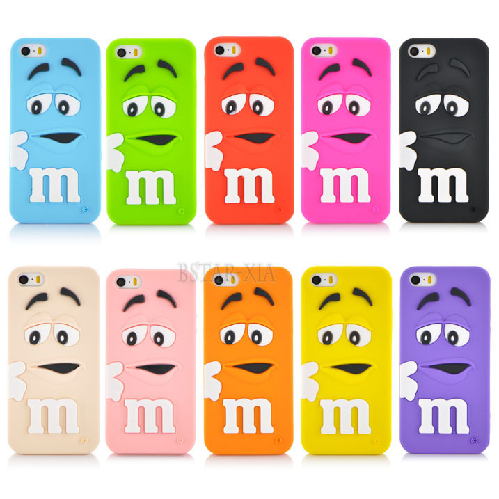 low priced 40f94 e8ef4 Soft silicone cute M&M Chocolate colorful Rainbow Beans phone case cartoon  cover For iphone 5 5s PT1357