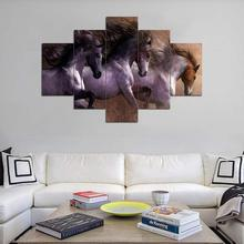 Hot Sale Animal Theme Custom 5 Pieces Kanvas Seni Cetak Lukisan <span class=keywords><strong>Kuda</strong></span> Lari Di Sunset Desain Wall Hanging Seni