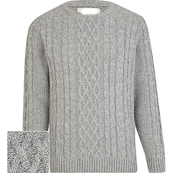 Mens Light Grey Twist Chunky Cable Knit Sweater Buy Cable Sweater
