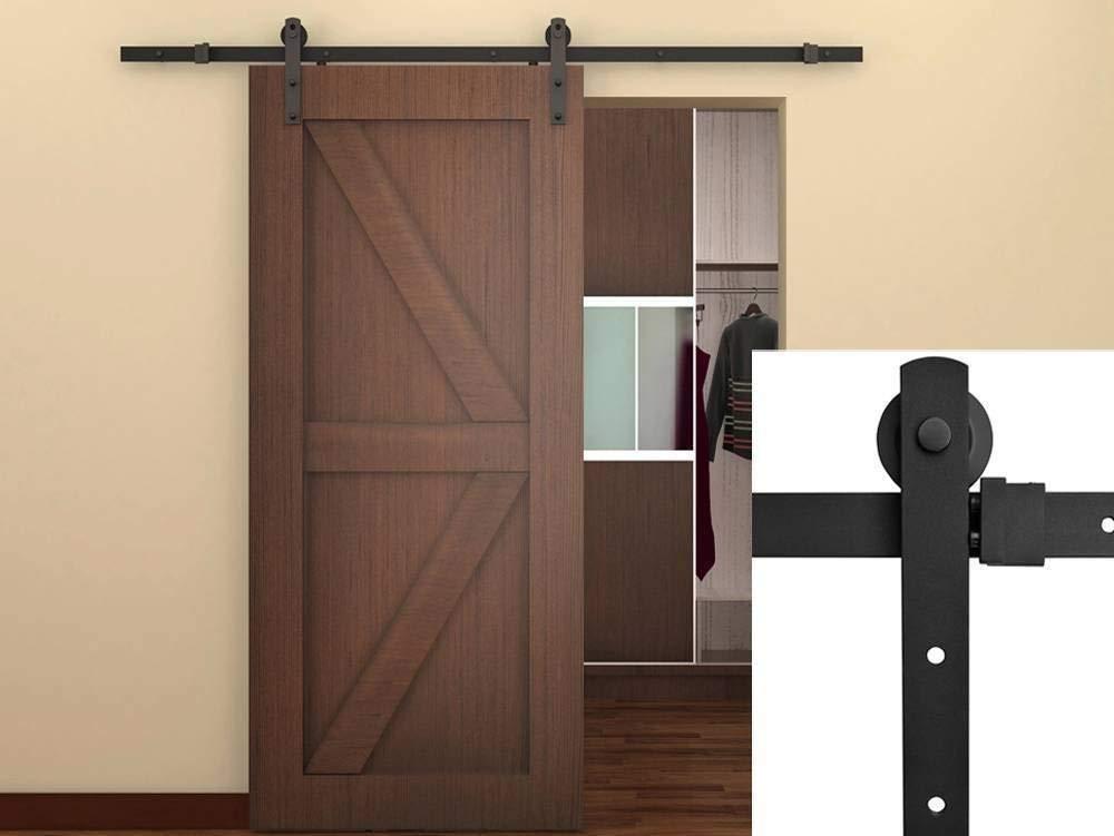 Get Quotations Belleze Clic Rustic Sliding Barn Wood Door Modern Track Hardware 6 Ft Frosted Black