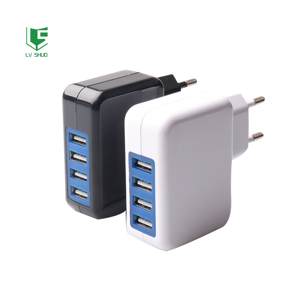 AC 110V to 220V DC 5V 4A USB Wall Charger with 4 USB Port