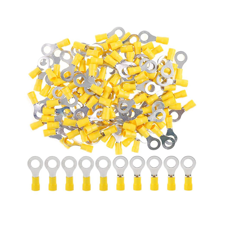 Mogen 12-10 awg 100 pcs yellow insulated wire terminals crimp type ring wire connectors