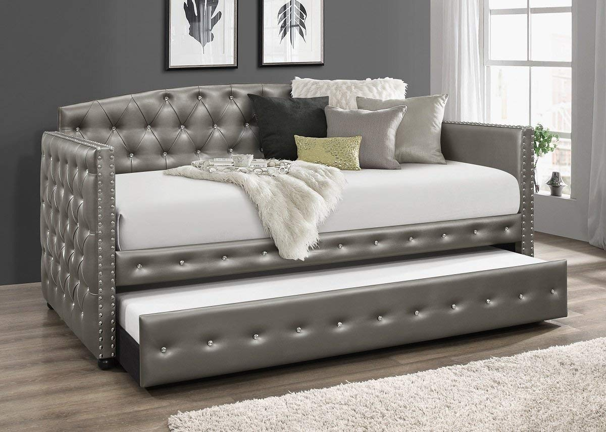 Home Design Ocean Upholstered Daybed With Trundle(Silver)