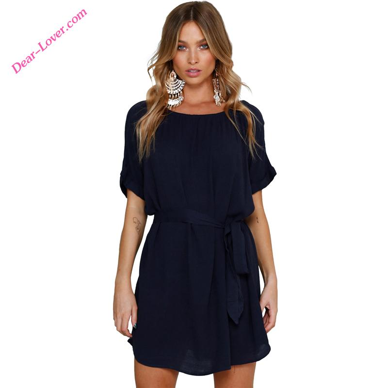 ce60a66952175 الجملة أنيقة فساتين قصيرة البسيطة الشيفون الصيف النساء اللباس-فساتين ...